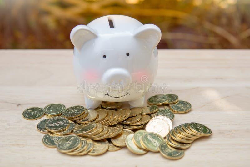 Hucha y pila muchas monedas del dinero en una tabla de madera - Ahorrando concepto del dinero, ahorre el dinero con la moneda del imagenes de archivo