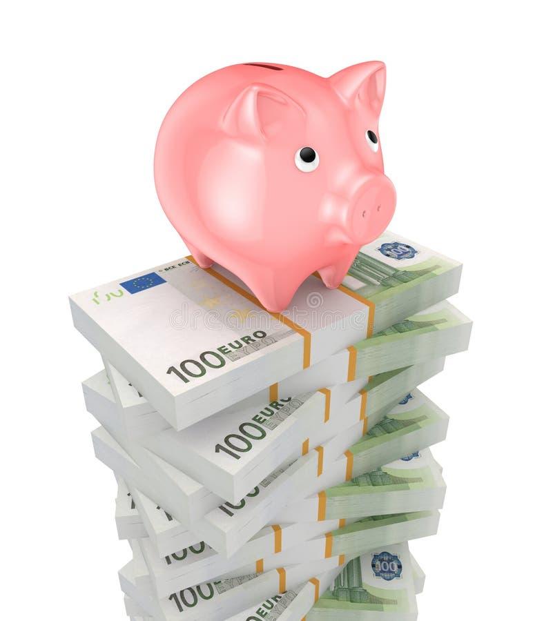 Hucha y pilas rosadas de euro. ilustración del vector