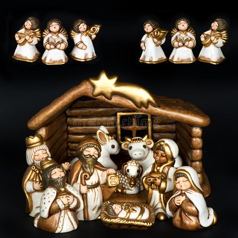 Huche de Noël. scène de nativité photos libres de droits