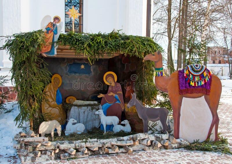 Huche de Noël. scène de nativité images stock