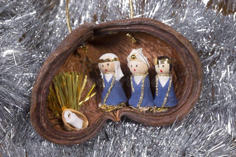 Huche de Noël, scène de nativité images libres de droits
