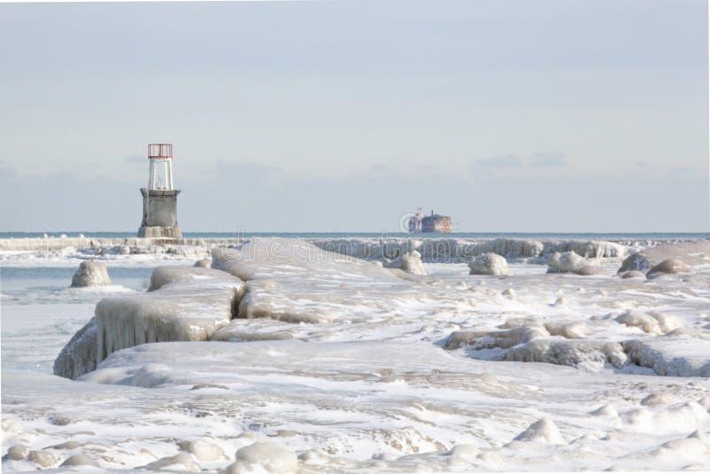 Huche du nord glaciale de pilier, de phare et de Dever d'eau d'avenue images stock