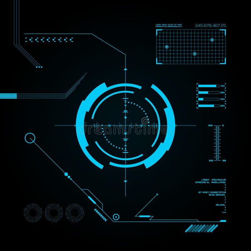 HUD和GUI集合。未来派用户界面。 库存例证