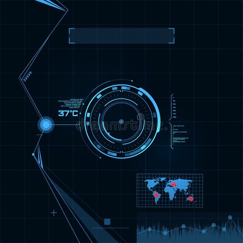 HUD和GUI集合。未来派用户界面。 向量例证