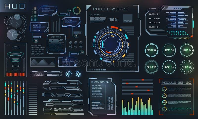 HUD和UI集合元素、科学幻想小说未来派用户界面、技术和科学设计 向量例证