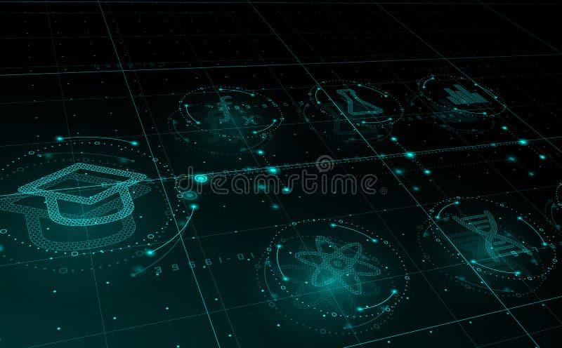 HUD在圈子,电子教学概念的科学象 ?? 向量例证