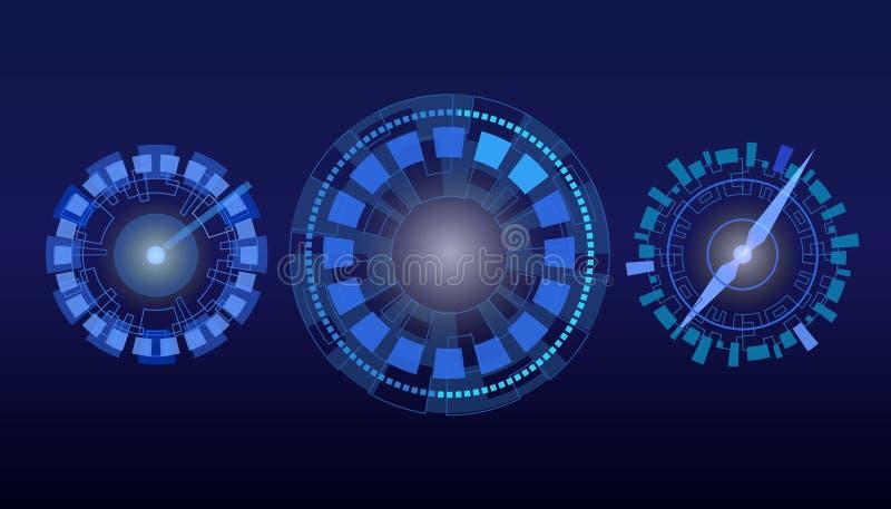 HUD拨号盘,时钟,车速表 向量例证