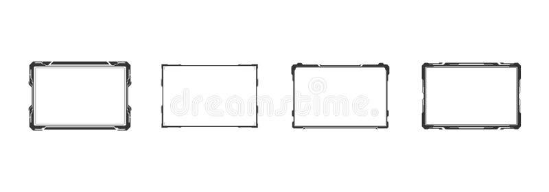 HUD未来派用户屏幕控制界面集合 抽象真正全息图目标显示器构思设计 库存例证