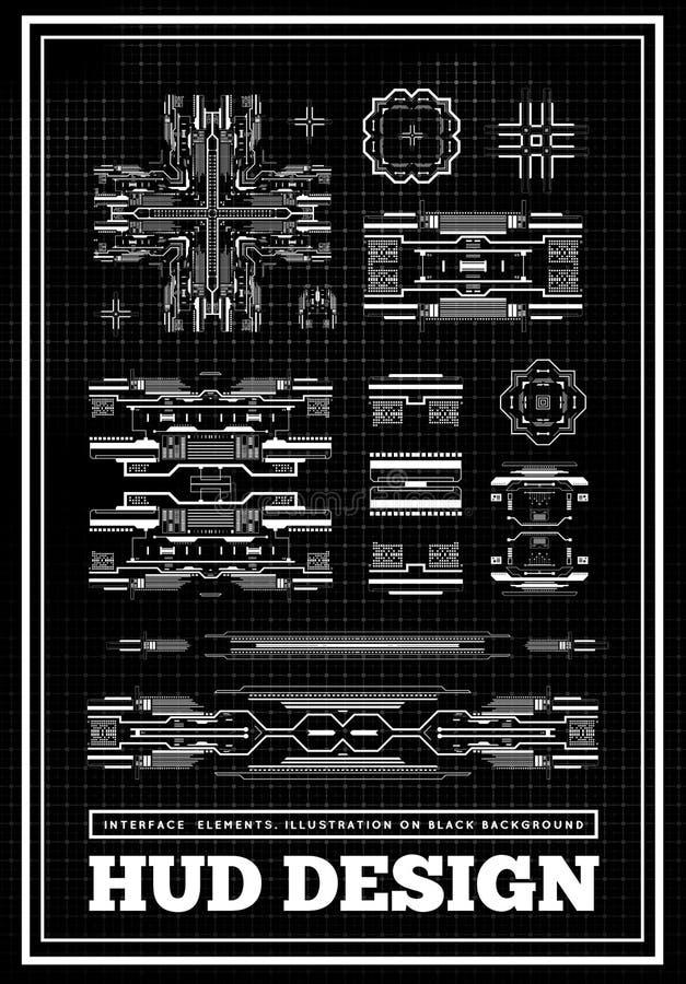HUD未来派用户界面 科学幻想小说未来技术显示器设计 抽象背景商业 设置图表和 向量例证