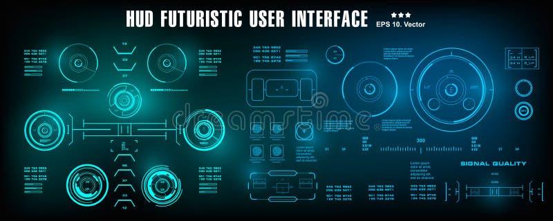 HUD未来派蓝色用户界面,仪表板显示虚拟现实技术屏幕,目标 库存例证