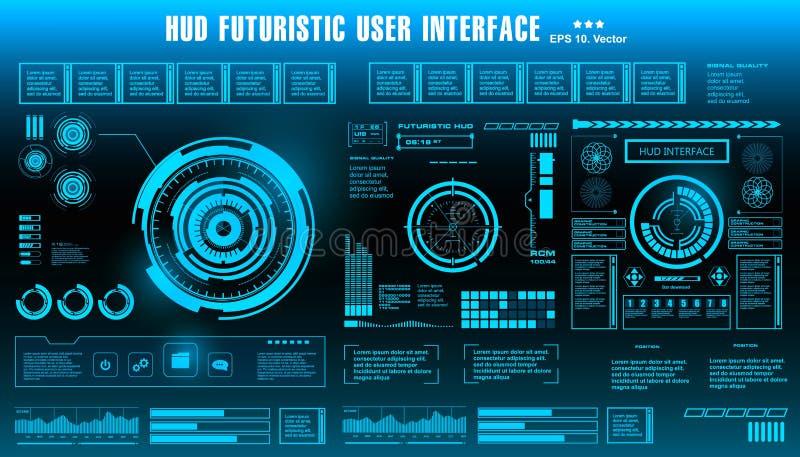 HUD未来派蓝色用户界面,仪表板显示虚拟现实技术屏幕,目标 向量例证