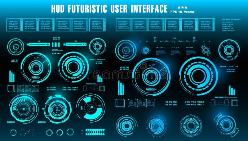 HUD未来派蓝色用户界面,仪表板显示虚拟现实技术屏幕,目标 皇族释放例证