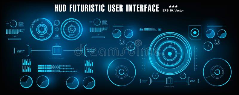 HUD未来派蓝色用户界面,仪表板显示虚拟现实技术屏幕 库存例证
