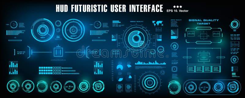 HUD未来派蓝色用户界面,仪表板显示虚拟现实技术屏幕 皇族释放例证