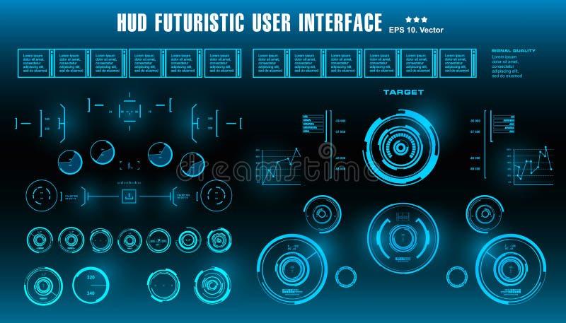 HUD未来派蓝色用户界面,仪表板显示虚拟现实技术屏幕 向量例证