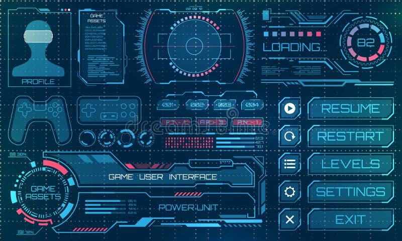 HUD用户界面, GUI,与Infographic元素的未来派盘区 向量例证