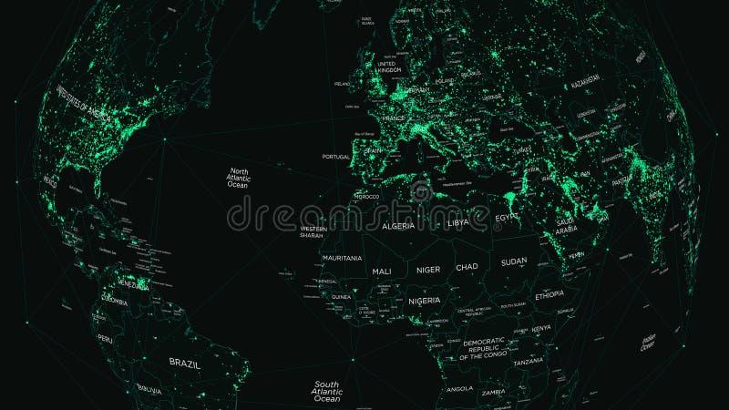HUD światowa mapa z globalną technologią i siecią telekomunikacyjną royalty ilustracja