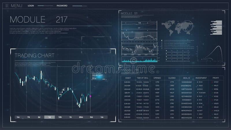 HUD 美丽与hud 储蓄股市财务例证 图表图数据背景 互联网约会 皇族释放例证