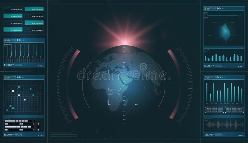 HUD 高科技未来派显示 技术和科学,分析题材 皇族释放例证