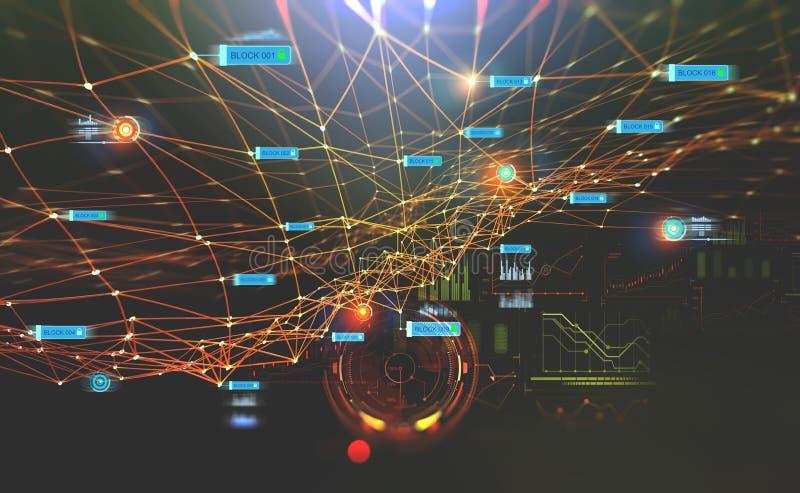 Δίκτυο αλυσίδων φραγμών και έννοια προγραμματισμού Σφαιρική τεχνητή νοημοσύνη διανυσματική απεικόνιση