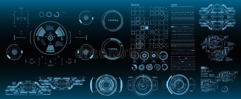 Пакет элементов HUD мега установленный Экран технологии виртуальной реальности дисплея приборной панели голубой Футуристический г бесплатная иллюстрация