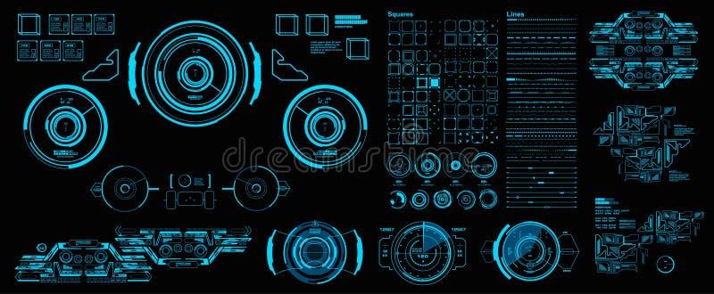 HUD-элементы меганабор пакетов Динамик 'голубой экран' технологии виртуальной реальности Синий интерфейс пользователя Futuristic иллюстрация штока