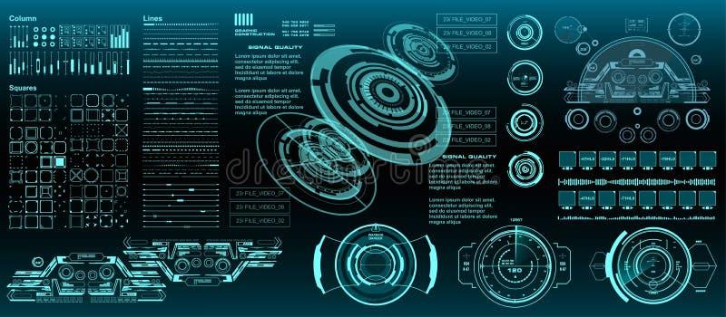 HUD-элементы меганабор пакетов Панель управления отображает экран технологии виртуальной реальности Интерфейс пользователя будуще иллюстрация вектора