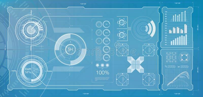 HUD abstracto Ilustración del vector para su agua dulce de design Fondo de la tecnología stock de ilustración