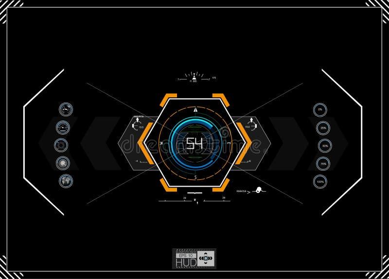 HUD bakgrund instrumentbrädarymdskepp Sikten är fantastisk Futuristisk användargränssnitt Abstrakt framtid begreppsfuturisti royaltyfri illustrationer