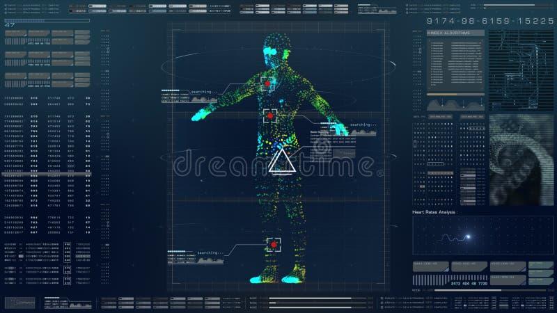 HUD Biomedical Diagnostic futuriste illustration libre de droits