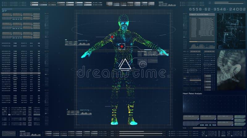 HUD Biomedical Diagnostic futuriste illustration stock