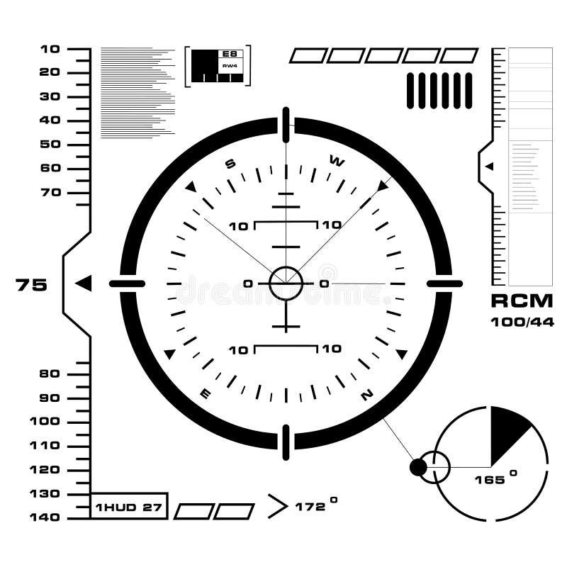 HUD blanco y negro futurista, interfaz de usuario virtual del tacto en diseño plano stock de ilustración