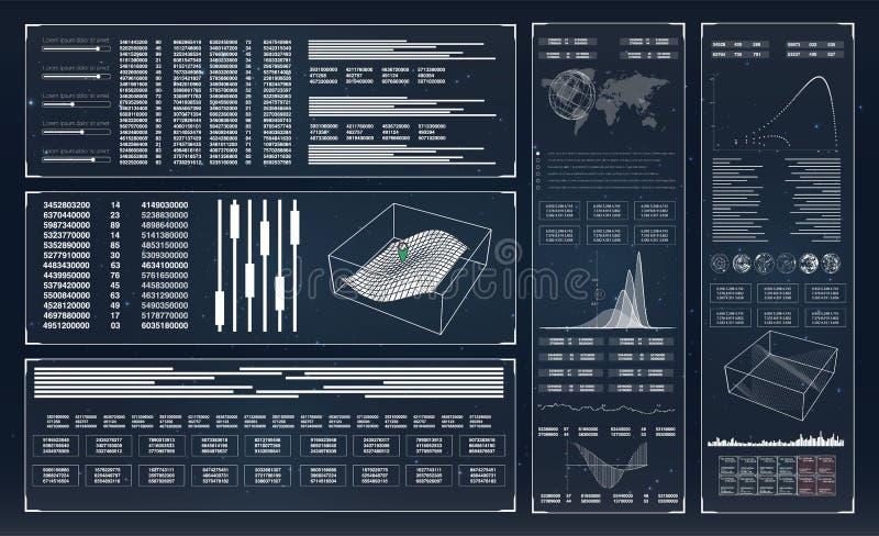 HUD Coleção com hud Projeto futurista do hud da relação Inovação da tecnologia de Hud HUD UI HUD Dashboard Display ilustração stock