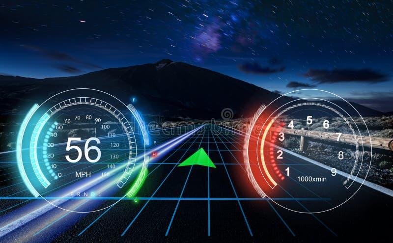 HUD Dashboard Interface de usuário futurista HUD e ele de Infographic ilustração stock
