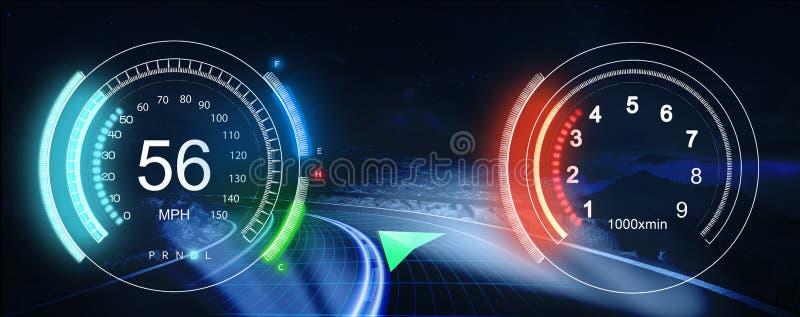 HUD Dashboard Interfaz de usuario futurista HUD y ele de Infographic stock de ilustración