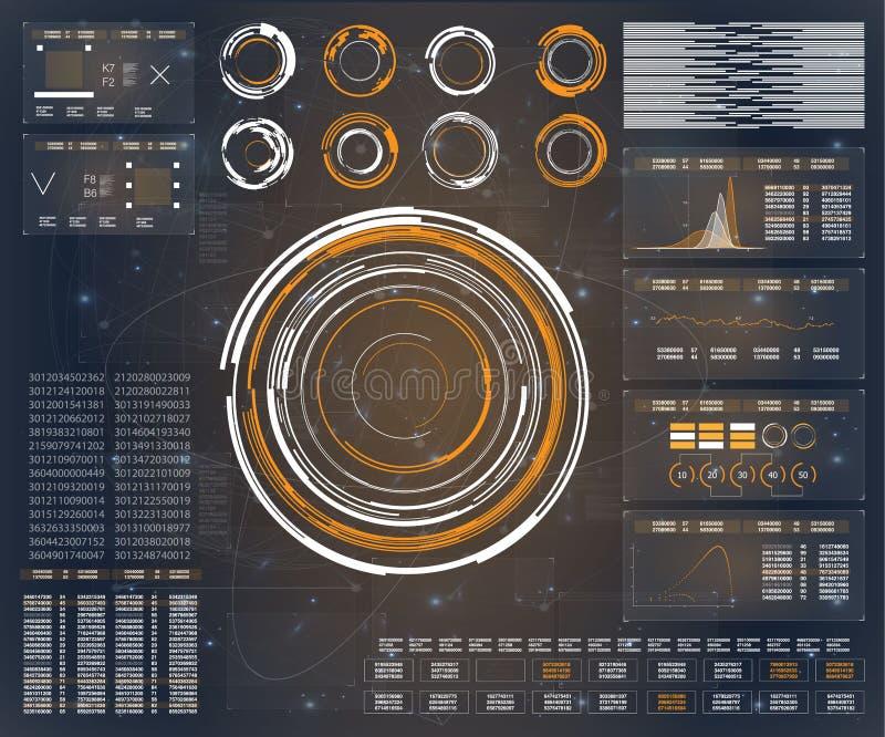HUD De vectorwetenschap van achtergrond abstracte technologiecommunicatiegegevens Technologie-pictogram HUD UI vector illustratie