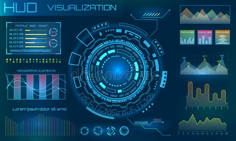 HUD Design Elements futuristico Infographic o interfaccia di tecnologia per visualizzazione di informazioni illustrazione di stock