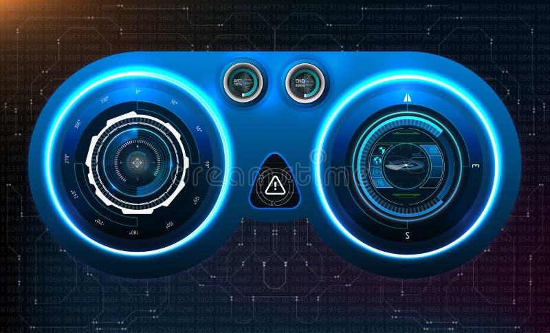 HUD deska rozdzielcza Abstrakcjonistyczny wirtualny graficzny dotyka interfejs użytkownika Futurystyczny interfejs użytkownika HU royalty ilustracja
