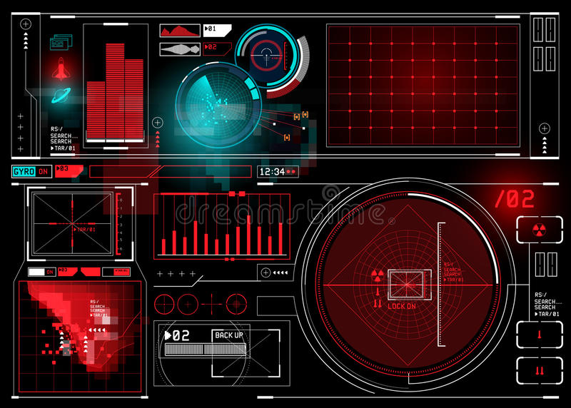 HUD display Elements. Technical HUD display with futuristic digital interface elements. Vector illustration royalty free illustration
