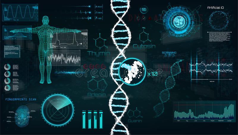 HUD, DNA infographic interface. stock illustration