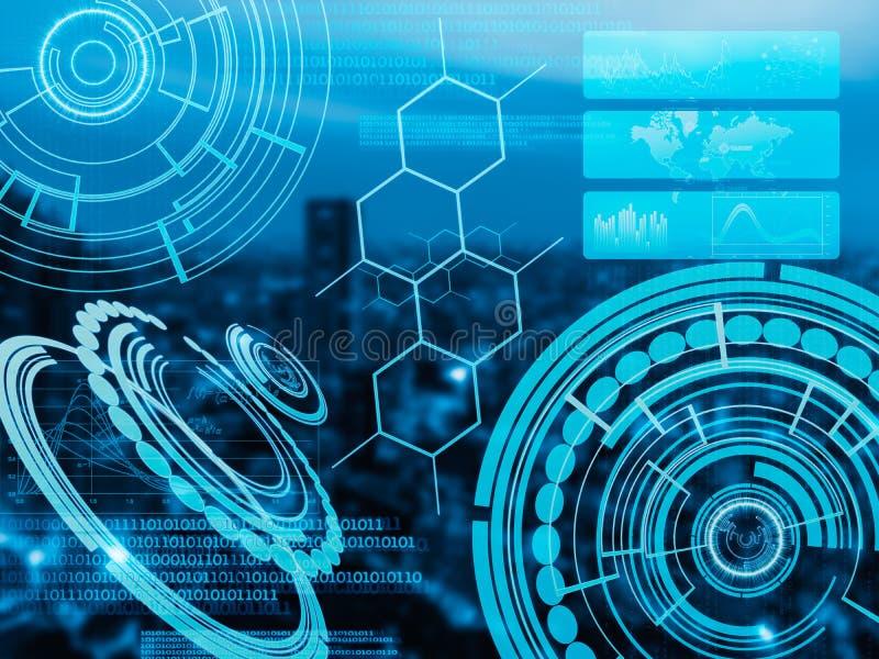 Hud do Cyber usado como a relação eletrônica e futurista do toque em c ilustração royalty free