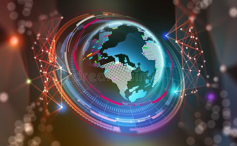 HUD Du?y dane poj?cie Cyberprzestrzeni planeta globalnej komunikacji ilustracja wektor