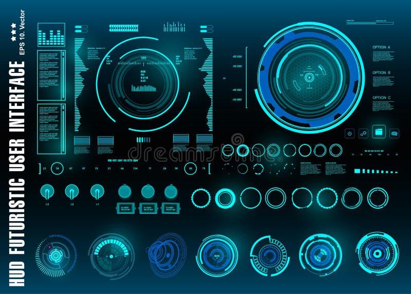 HUD elementów paczki mega set Deska rozdzielcza pokazu rzeczywistości wirtualnej technologii błękitny ekran Futurystyczny błękitn royalty ilustracja
