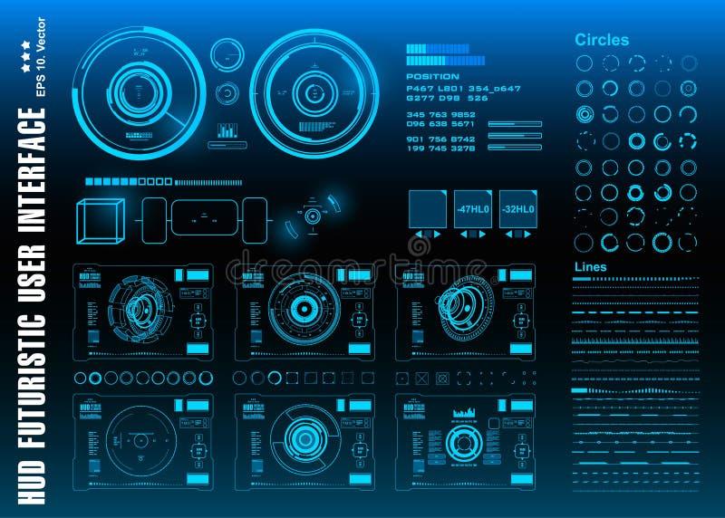 HUD elementów paczki mega set Deska rozdzielcza pokazu rzeczywistości wirtualnej technologii błękitny ekran Futurystyczny błękitn ilustracja wektor