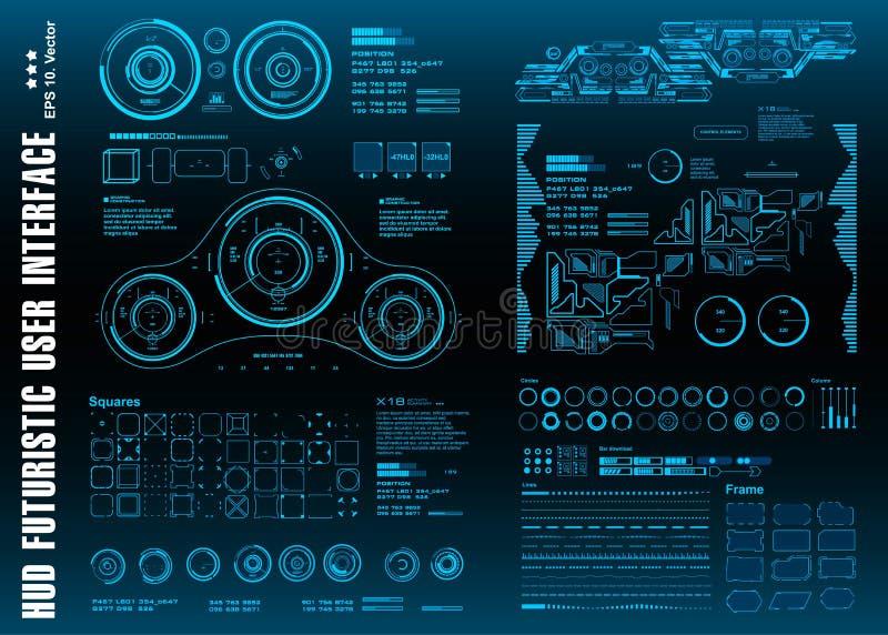HUD elementów paczki mega set Deska rozdzielcza pokazu rzeczywistości wirtualnej technologii błękitny ekran Futurystyczny błękitn ilustracji