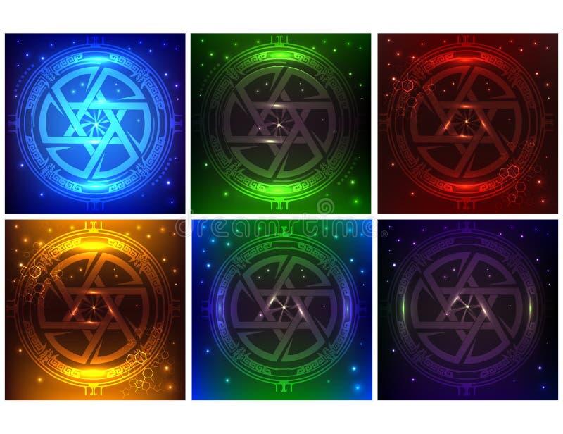 HUD elementów Super paczka sześć różnych kolorów Sci fi futurystyczny interfejs użytkownika Futurystyczna pojęcie gwiazda dawidow royalty ilustracja