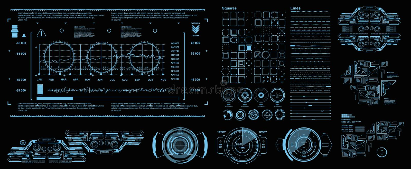 HUD element?w setu mega paczka Deska rozdzielcza pokazu rzeczywisto?ci wirtualnej technologii b??kitny ekran Futurystyczny b??kit ilustracji