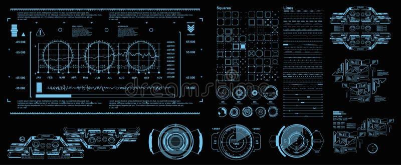HUD-Elemente Mega- gesetzter Satz Der Anzeigenvirtuellen realit?t des Armaturenbrettes blauer Technologieschirm Futuristische bla stock abbildung