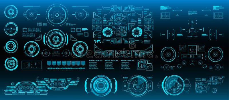 HUD-Elemente Mega- gesetzter Satz Der Anzeigenvirtuellen realit?t des Armaturenbrettes blauer Technologieschirm Futuristische bla lizenzfreie abbildung
