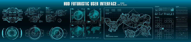 HUD-Elemente Mega- gesetzter Satz Technologieschirm der Armaturenbrettanzeigenvirtuellen realit?t Futuristische Benutzerschnittst stock abbildung